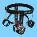 Mužský pás cudnosti s vibračním kolíkem a pouty
